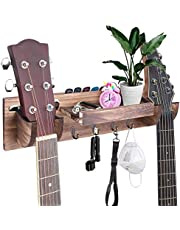 $39 » TCJJ Double Guitar Wall Hanger Guitar Holder Wall Mount Bracket Wood Hanging Rack with Guitar Accessories Storage Shelf and 4 Hooks