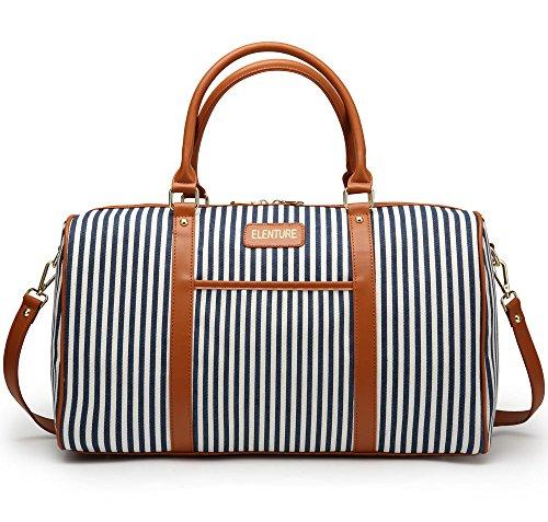 Canvas Holdall Bag, Elenture Ladies Women Leather Trim Canvas Weekender Travel Duffel Tote Bag Overnight Carry On Bag (Blue Stripe)