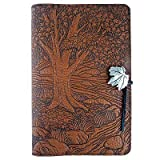 Creekside Maple Tree American-Made Embossed Leather Writing Journal Cover, 6 x 9-inch + Refillable Hardbound Insert Book