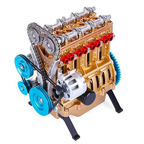 RAVPump All-Metal Engine Model Kit, V4 4 Cylinder Assembly Engine Model Stirling Engine for Adults – 325Pcs