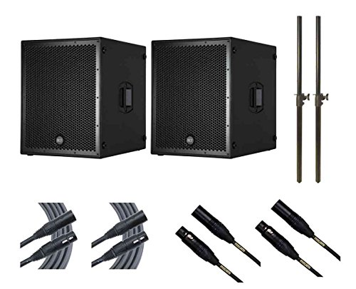 2x RCF Sub 8004-AS + Subwoofer Poles + Mogami Cables by RCF