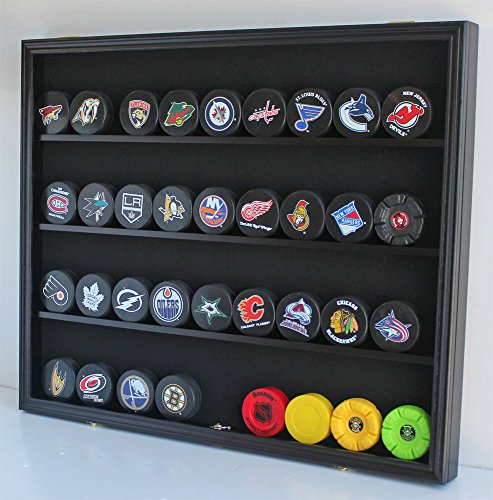 Large 35 Hockey Puck Display Case Wall Cabinet Shadow Box, UV Protection Door, (Black Finish) ()