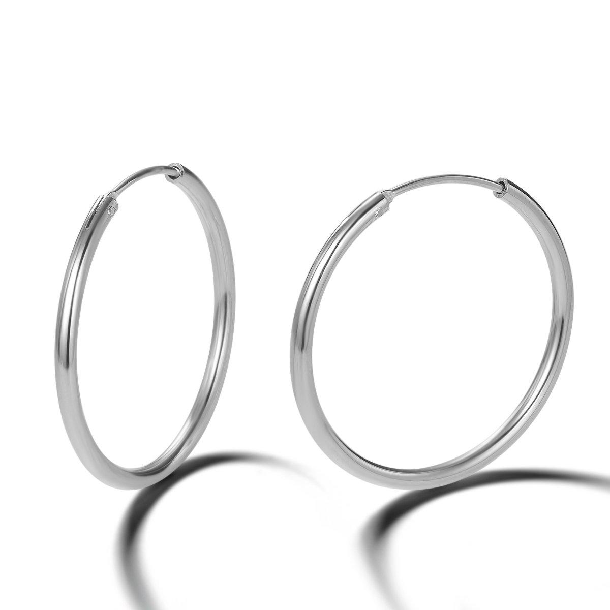 Carleen 14K White Gold Plated 925 Sterling Silver Dainty Endless Hoop Earrings for Women Girls (30mm)