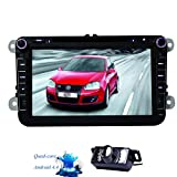 Eincar 8inch 2 Din Android4.4 Quad Core 16GB 1024*600 Car DVD Player Stereo HD Capacitive Multi-touchscreen Headunit FM AM RDS Radio Receiver Can-bus GPS Navigation For Universal VW Skoda POLO GOLF PASSAT CC JETTA TIGUAN +Free Rearview Backup Camera