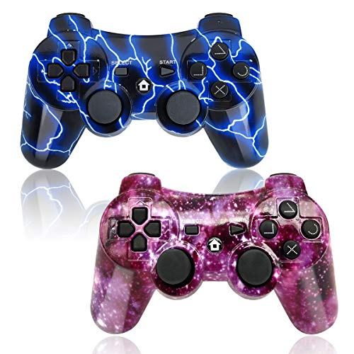 - PS3 Controller Wireless 2 Pack Double Shock Gamepad for Playstation 3 Remotes, Sixaxis Wireless PS3 Controller with Charging Cable (Purple and Blue)