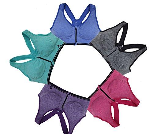 B.BANG Women Wireless Sports Bra with Front Zipper Middle Impact Seamless Active Yoga Bra