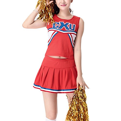 Colorful House Womens Cheerleader Costume Uniform Fancy Dress Red Style 2, US 0-2 ( (Glee Cheerios Costume)