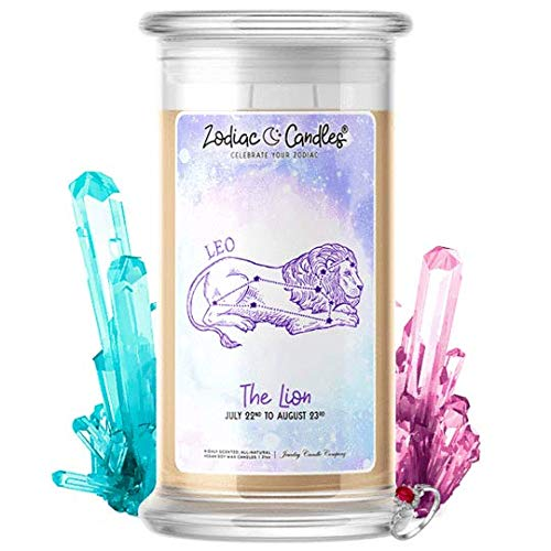 - ♌ Leo | Zodiac Star Signs Jewelry Candle 21oz | Surprise Prize Valued at $15 - $7,500 Inside | Choose From 30+ Scents | Birthday Cake | Ring (Size 6)