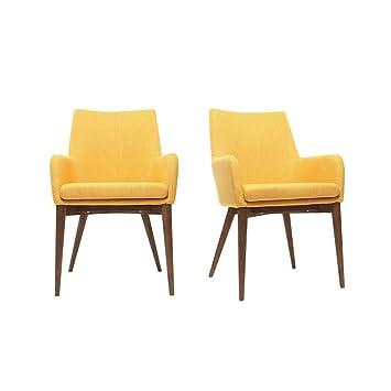 Miliboo - Lote de 2 sillones diseño madera y tejido amarillo ...