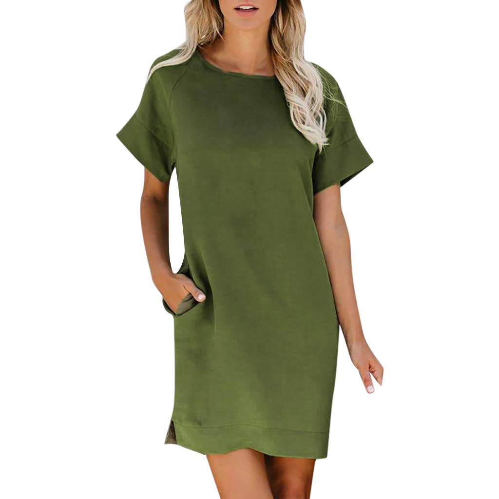 Cliramer Women's Summer Midi Dress Short Sleeve Loose Swing Casual Lace Printed O-Neck Plain Pleated Party with Pockets Green by Cliramer