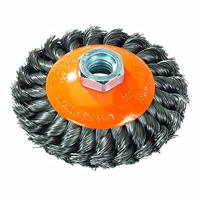 """Walter Saucer-Cup Knot-Twisted Brush, Threaded Hole, Carbon Steel, 5"""" Diameter, 0.020"""" Wire Diameter, 5/8""""-11 Arbor, 15000 Maximum RPM"""