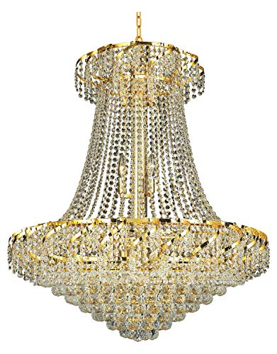 Elegant Lighting Eca1D30G/Ss Swarovski Elements Clear Crystal Belenus 18-Light, Two-Tier Crystal Chandelier, Finished in Gold with Clear Crystals ()