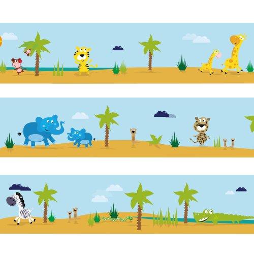 Bordura Wandkings Grande tour safari Lunghezza: 450 cm, autoadesiva, per la camera dei bambini