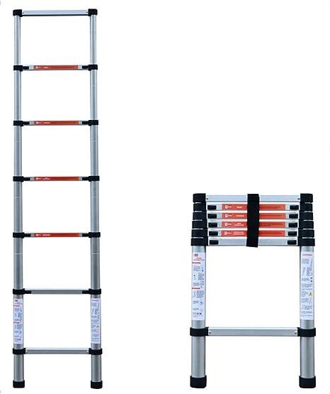 ZR- Escalera Loft Telescópica Aluminio, Escalera Retráctil Escalera Ático Abatible Capacidad Carga 150 Kg -Fácil de almacenar y fácil de llevar (Tamaño : Straight ladder-2.6m): Amazon.es: Hogar