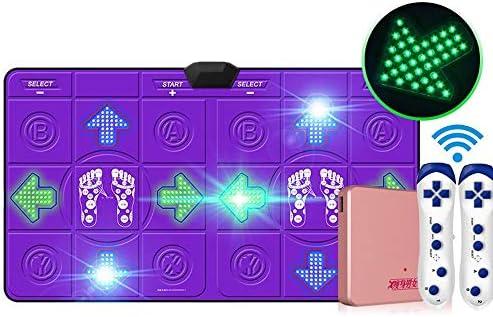 ワイヤレスダブル発光ダンスマット3D HDアンチスリップブランケット、快適で安全なカラースポットライトLEDバックライトキーボードワイヤレスヨガ減量エクササイズダンス (Color : Purple)