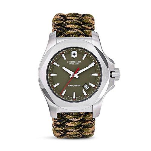 Victorinox I.N.O.X Olive Dial Swiss Quartz Mens Watch 241727