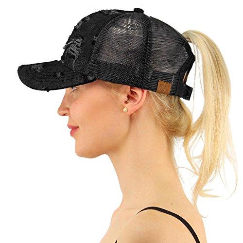 C.C Ponytail Messy Buns Trucker Ponycaps Plain Baseball Visor Cap Dad Hat Denim Black