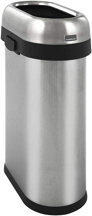 40,6 x 76,2 cm Edelstahl simplehuman CUBO 60 L ABIERTO Silber