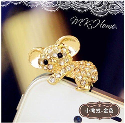 Tiny Chou Cute Bling Crystal Diamond Koala 3.5 mm Cell Phone Charm Anti Dust Plug Earphone Cap Headphone Jack Accessory for iphone 6 Plus/6/5s/5,ipods,ipads,Samsung Galaxy Series&Note Series ()