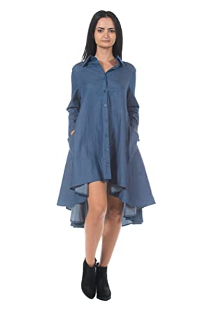 4f4e3b06c4c0b Women s Blue Denim Cotton Avant Garde Trapeze Handkerchief Babydoll Shirt  Dress ...