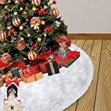 48 inches Christmas Tree Skirt, Faux Fur Christmas Tree Skirt Soft Snow White Tree Skirt Christmas Decorations (White, 48-inch)