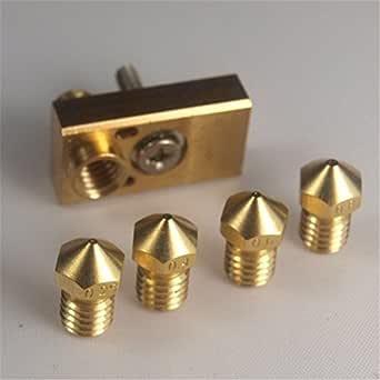 boquilla V6 de 3 mm Titan Aero extrusora Ultimaker 2+ Extended Olsson Block Hotend 4 piezas de impresora 3D M6 rosca resistente al desgaste compatible con V5 V6 Hotend