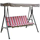 Kozyard Alicia Patio Swing Chair with 3 Comfortable Cushion Seats and Strong Weather Resistant Powder Coated Steel Frame