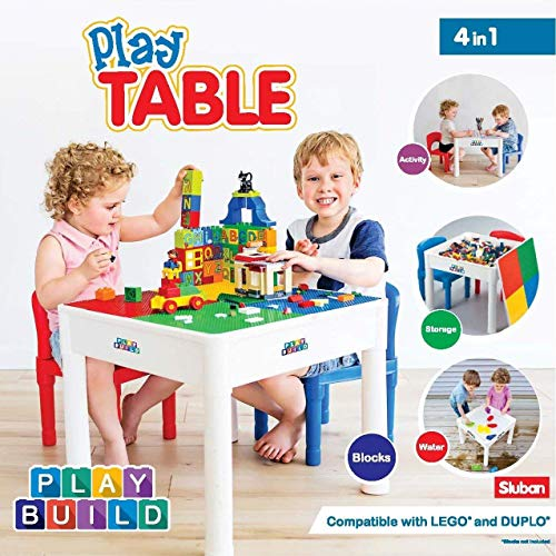 PlayBuild Kids 4 in 1 Play & Build Table Set for Indoor Activity, Outdoor Water Play, Toy Storage & Building Block Fun Includes 2 Toddler Chairs (Indoor Activity Toys)