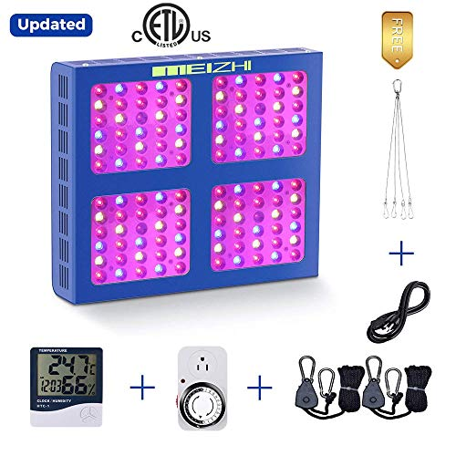MEIZHI 600W LED Plants Growing Lamps,Reflector Lights Kits Hydroponic Solution Daisy Chain Full Spectrum for Indoor Greenhouse Tent Veg,Plug Timer+Thermometer Humidity Monitor +Adjustable Rope Hangers