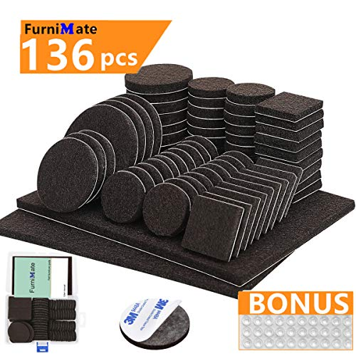 (Furniture Pads 136 Pieces Pack Self Adhesive Felt Pad Brown Felt Furniture Pads 5mm Thick Anti Scratch Floor Protectors for Chair Legs Feet with Case and 30 Rubber Bumpers for Hardwood Tile Wood Floor)