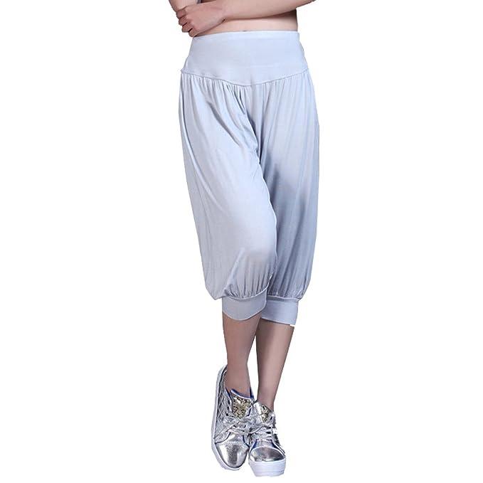 Cayuan Harem Pantalones del Verano Mujer Holgados 3/4 Largo Yoga Pilates Danza Pantalón Polainas Suave y Transpirable
