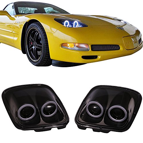 Lights Fits 1997-2004 Chevy Corvette C5 | Headlights Projector Lamp Black Dual LED Halo Rims by IKON MOTORSPORTS |  1998 1999 2000 2001 2002 2003 - Chevy Corvette Projector Headlights