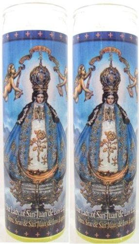 Set of 2 Our Lady of San Juan De Los Lagos Prayer Candles 2 Veladoras De Nuestra Senora De San Juan De Los Lagos