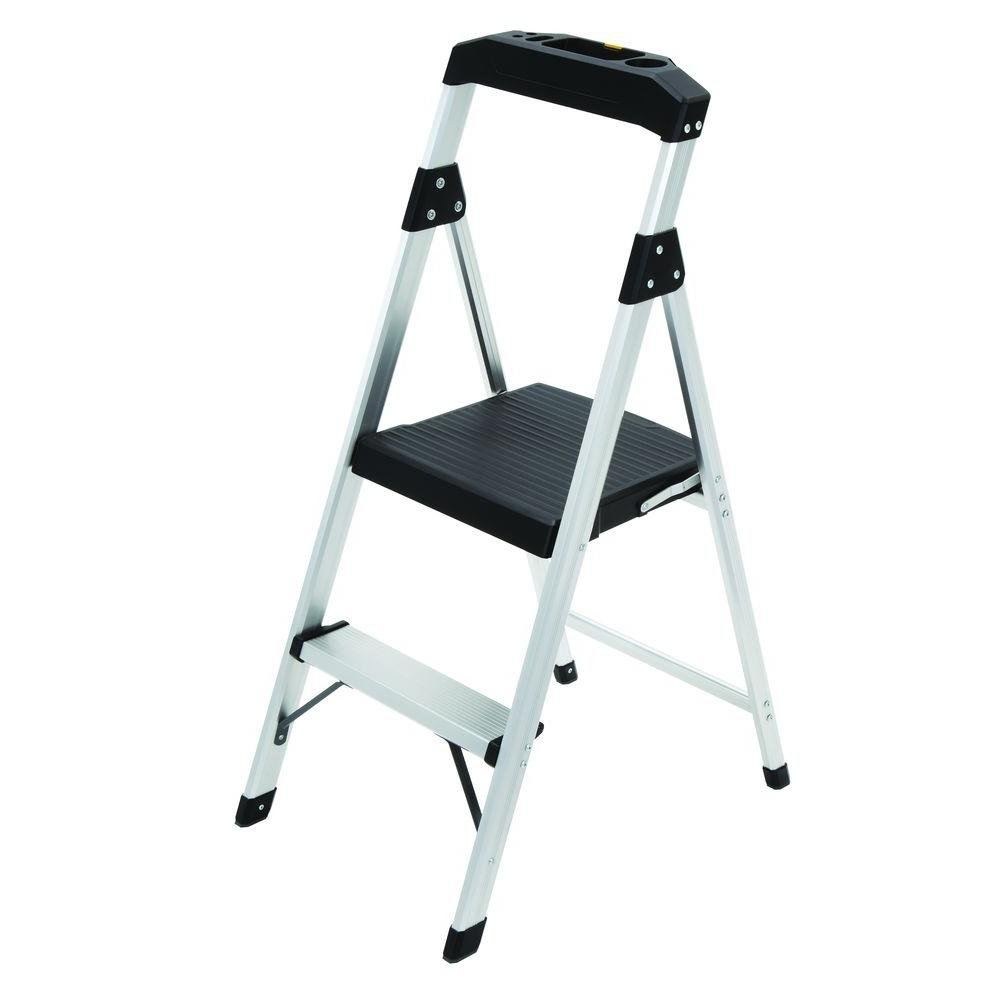 2-Step Aluminum Ultra-Light Step Stool Ladder with Project Tray Top and 225 lb. Capacity, ANSI Type 2 Duty Rating by Gorilla Ladders