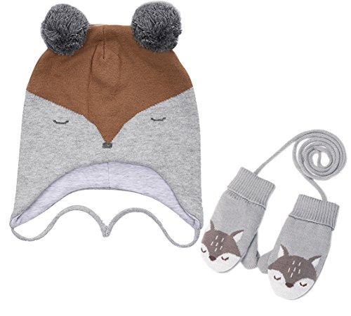 Sweater Knit Hat (Eriso Toddler Baby Fox Hat Mittens Set Little Kids Knit Winter Caps (1-3 Years(18-19.5