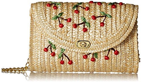 Pulama Straw Crossbody Crochet Shoulder Bag Pom Pom Tassel Pinapple Fringe Fashion Raffia Clutch Cherry
