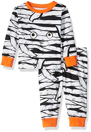 The Children's Place Baby Boys' Long Sleeve Top and Pants Pajama Set, Mummy/White 65580, 3-6 Months