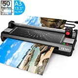 Laminator Machine for A3/A4/A6, YE381 Thermal Laminating Machine for Home Office School Use with 50 Pouches, Paper Trimmer and Corner Rounder
