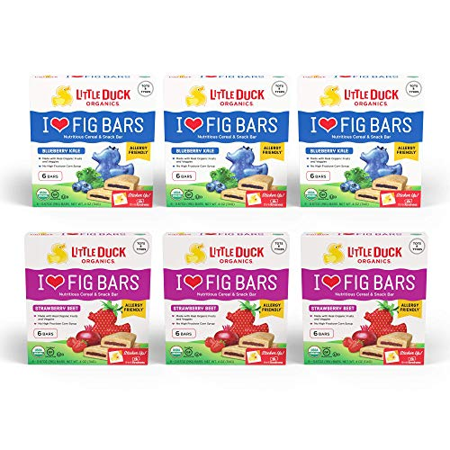 Little Duck Organics I Love Fig Bars, Nutritious Cereal & Snack Bar, Variety Pack (3 Blueberry, 3 Strawberry), 6 -
