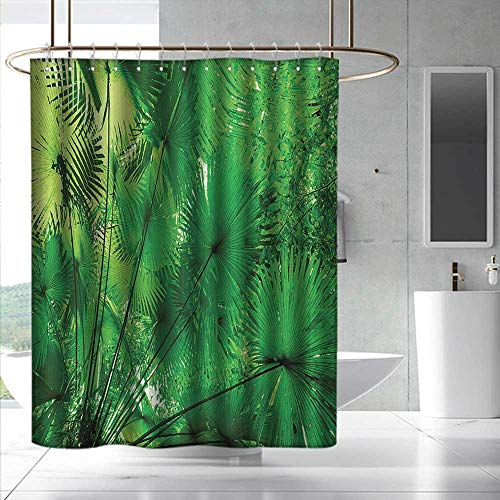 Fakgod Rainforest Shower Curtain with Hooks Plants in Tropical Environment Exotic Jungle Atmosphere Asian Natural Beauty Pattern for Master, Kid's, Guest Bathroom W108 x L72 Green by Fakgod (Image #5)