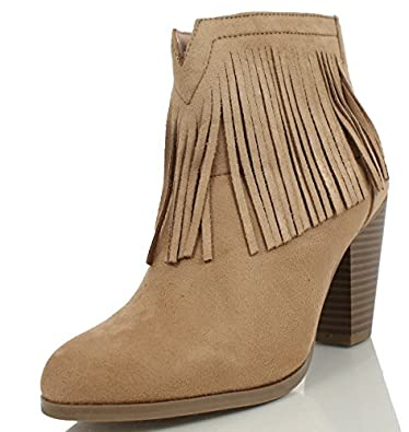 c404303a5 Image Unavailable. Image not available for. Color: SODA Women's Agree  Cowboy Fringe Faux Suede Closed Toe Stacked Heel Ankle Boot ...
