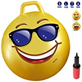 20 green machine purple - WALIKI TOYS Hopper Ball For Kids Ages 7-9 (Hippity Hop Ball, Hopping Ball, Bouncy Ball With Handles, Sit & Bounce, Kangaroo Bouncer, Jumping Ball, 20 Inches, Emoji, Pump Included)
