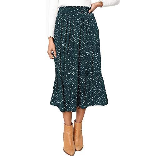 Exlura Womens High Waist Polka Dot Pleated Skirt Midi Swing Skirt with Pockets Green Small