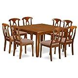 East West Furniture PFNA9-SBR-C 9 Pc Dining Room Set-Kitchen Table Leaf 8 Dinette Chairs, Saddle Brown Finish