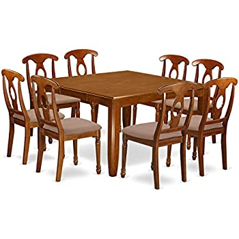 East West Furniture PFNA9 SBR C 9 Piece Dining Table Set