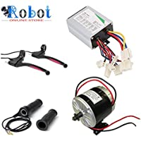 Robot Online Store Motor with Controller, Twist Throttle, Diy Electric Bicycle Kita and E Break, 350W/24V (Black, My1016)