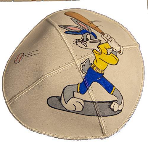 Hand-painted Kippah (Yarmulke) with Bugs Bunny playing Baseball