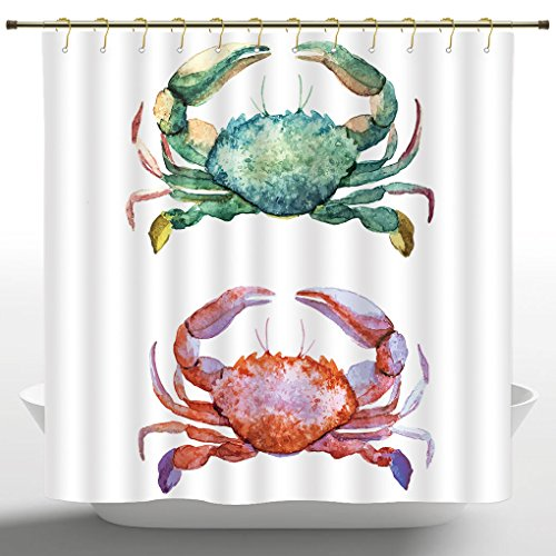 Shower Curtain by iPrint,Crabs,Watercolor Style Effect Sea Animal Theme Pattern Illustration of Crabs Artwork Print,Orange Teal,Polyester Fabric Bathroom Shower Curtain,72 Inches Long
