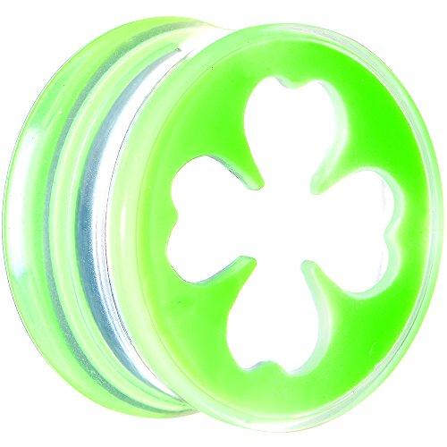 (Body Candy 20mm Clear Green Acrylic Lucky Clover Saddle Ear Gauge Plug (1)