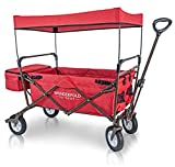 WonderFold Outdoor Value Model Collapsible Folding Wagon with Canopy - 180 Degree Steering Telescoping Handle (Ruby Red)